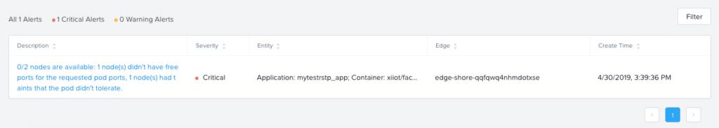Xi IoT app alert details